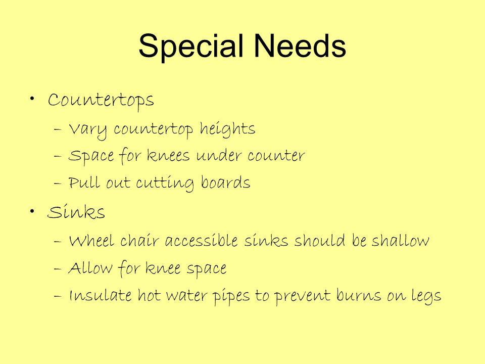 Special Needs Countertops Sinks Vary countertop heights