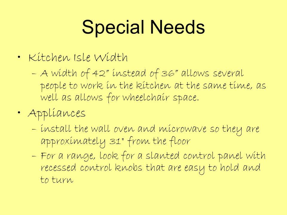 Special Needs Kitchen Isle Width Appliances