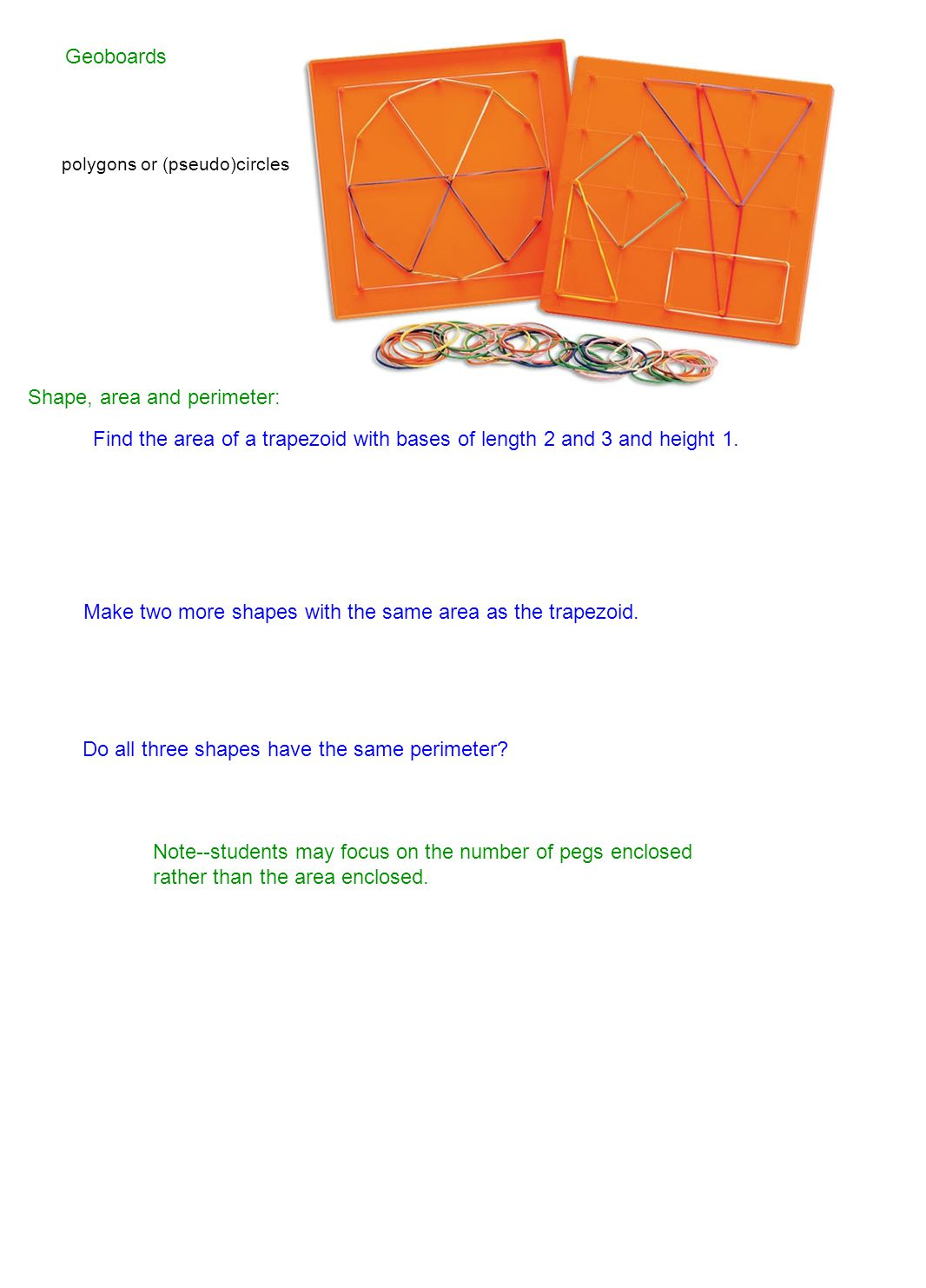 Shape, area and perimeter: