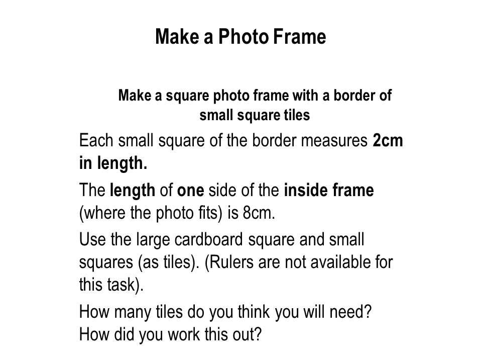 Make a square photo frame with a border of small square tiles