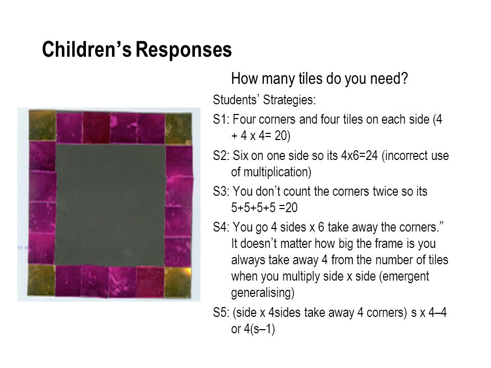 Children's Responses How many tiles do you need Students' Strategies:
