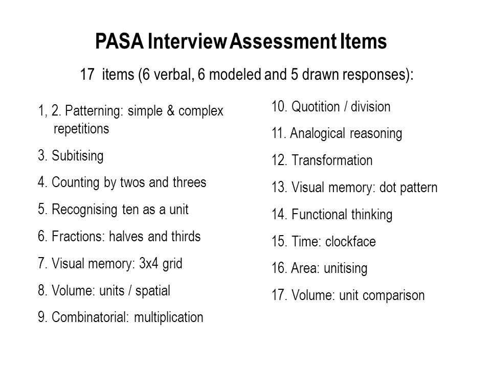 PASA Interview Assessment Items