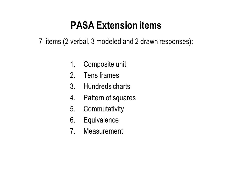 PASA Extension items 7 items (2 verbal, 3 modeled and 2 drawn responses):