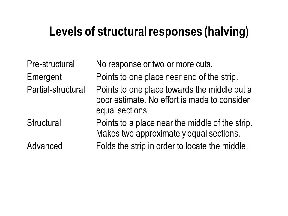 Levels of structural responses (halving)