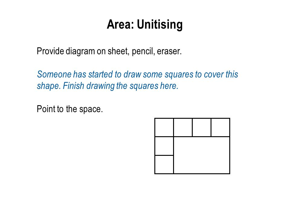 Area: Unitising Provide diagram on sheet, pencil, eraser.