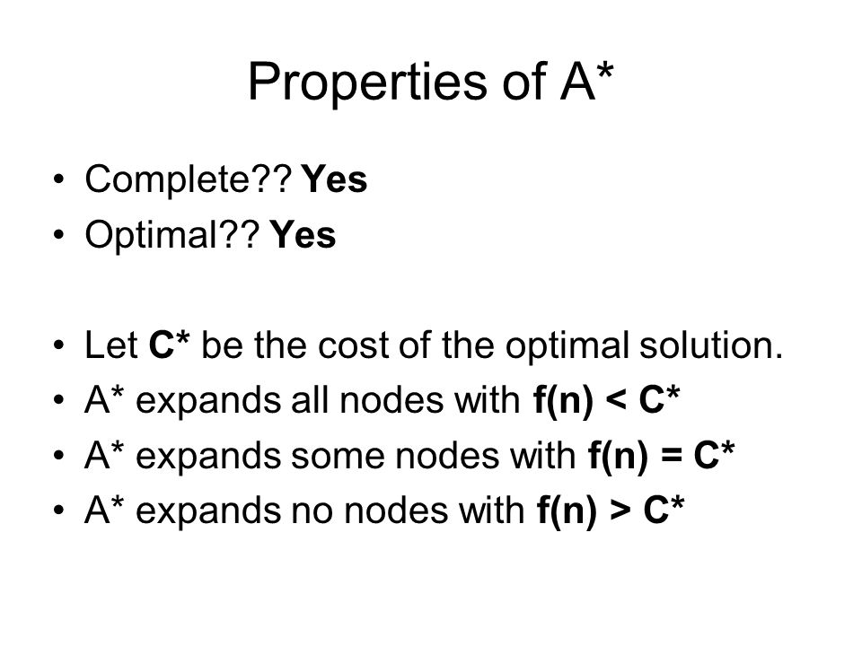 Properties of A* Complete Yes Optimal Yes