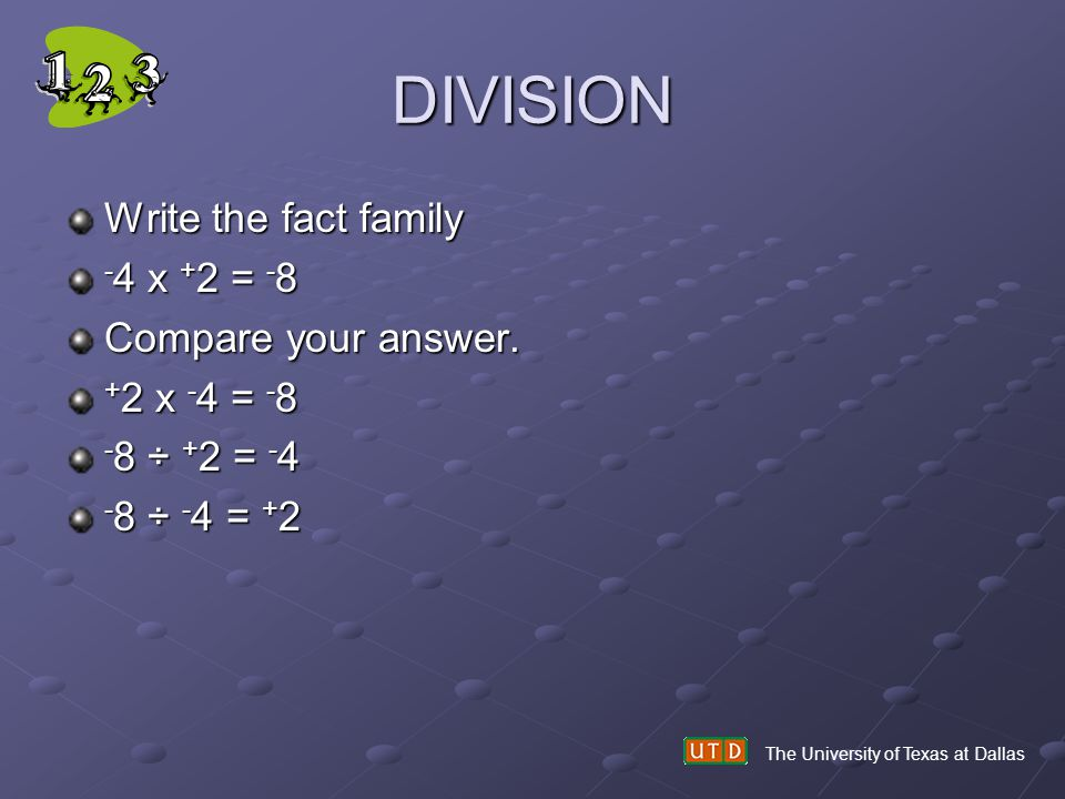 DIVISION Write the fact family -4 x +2 = -8 Compare your answer.