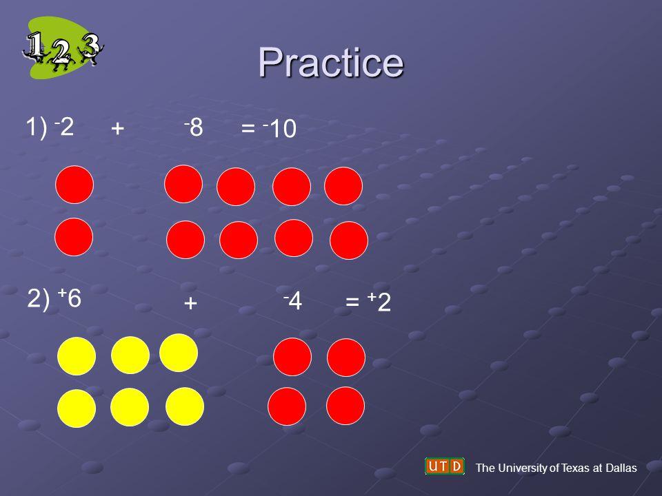 Practice 1) -2 + -8 = -10 2) +6 + -4 = +2