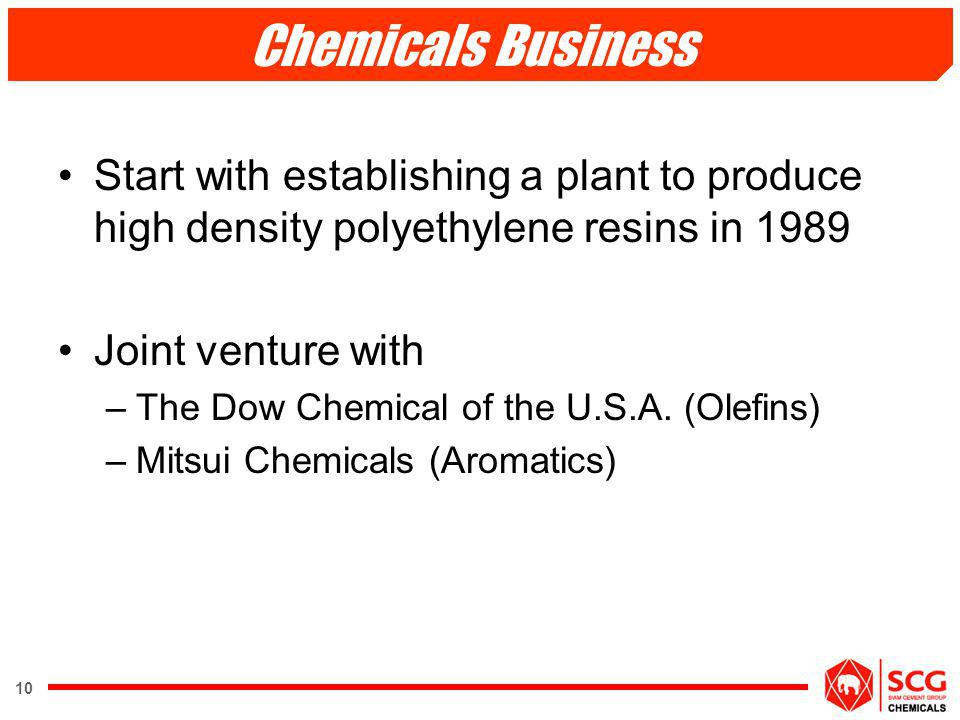 Chemicals Business Start with establishing a plant to produce high density polyethylene resins in 1989.
