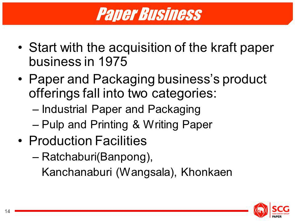 Paper Business Start with the acquisition of the kraft paper business in 1975.