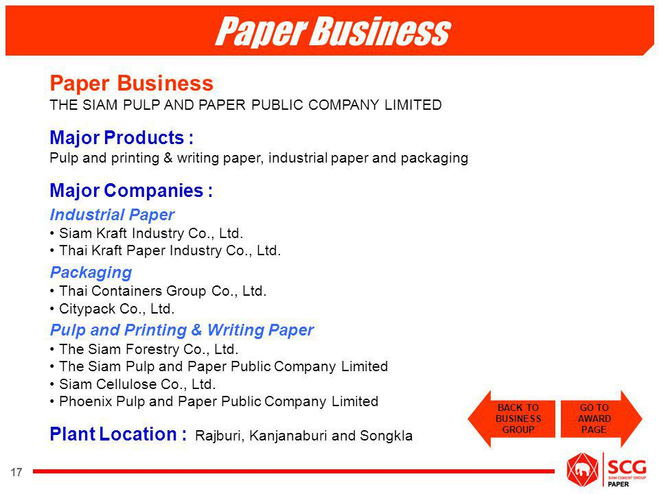 Paper Business Paper Business THE SIAM PULP AND PAPER PUBLIC COMPANY LIMITED.