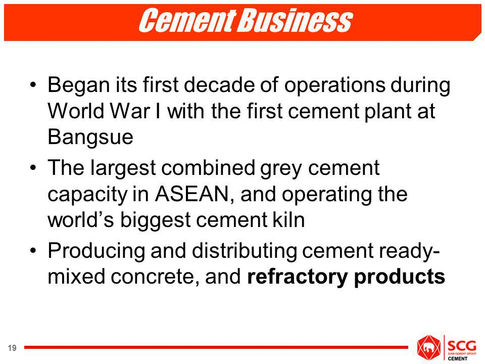 Cement Business Began its first decade of operations during World War I with the first cement plant at Bangsue.