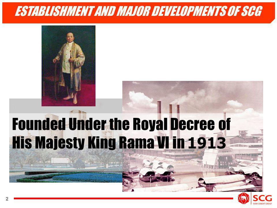 ESTABLISHMENT AND MAJOR DEVELOPMENTS OF SCG