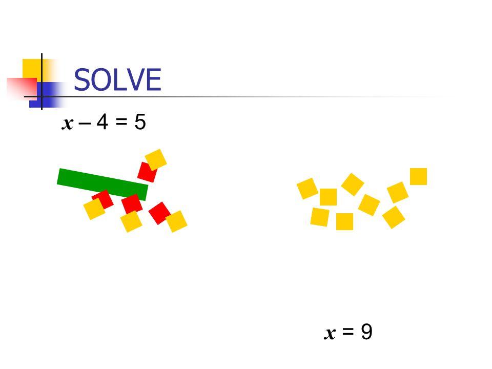 SOLVE x – 4 = 5.