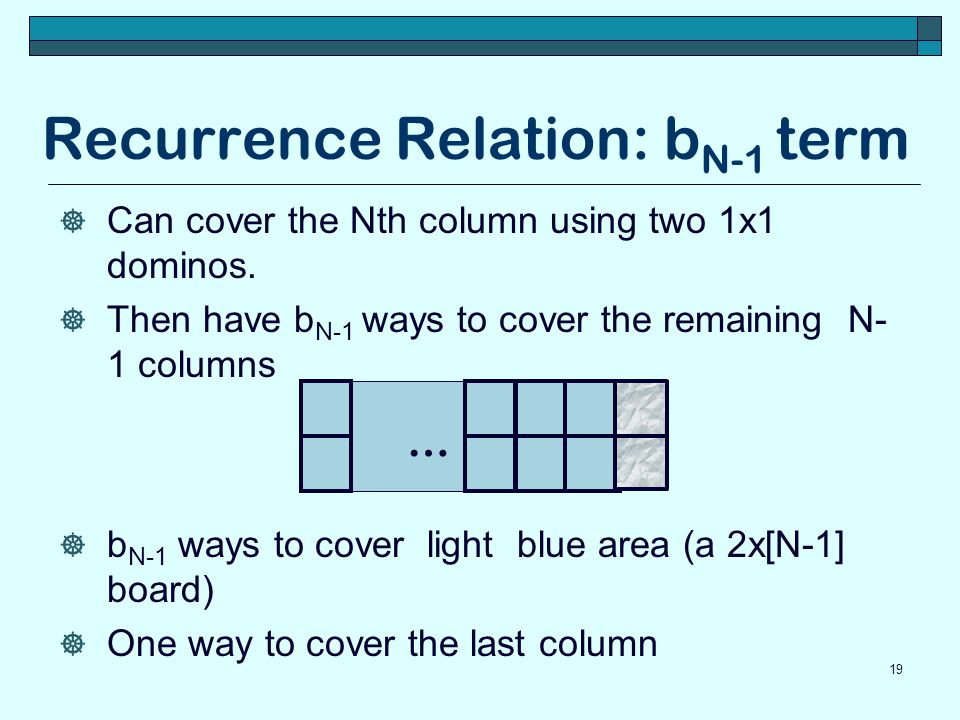 Recurrence Relation: bN-1 term