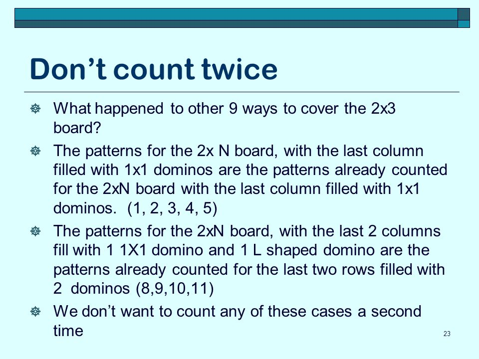 Don't count twice What happened to other 9 ways to cover the 2x3 board