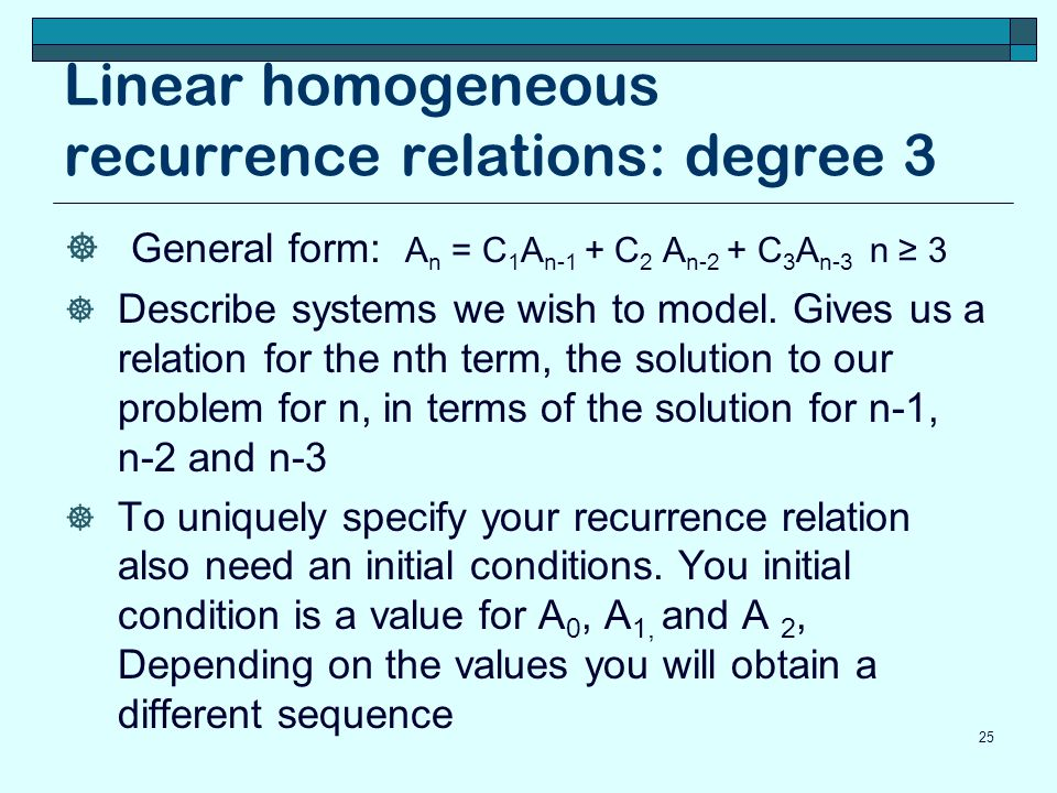 Linear homogeneous recurrence relations: degree 3