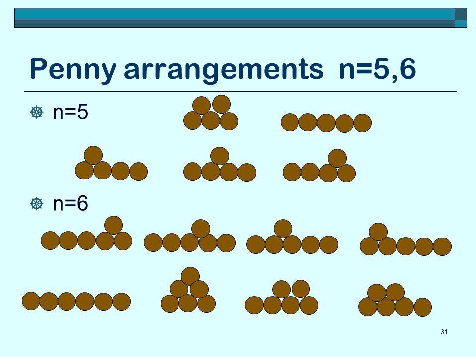 Penny arrangements n=5,6 n=5 n=6