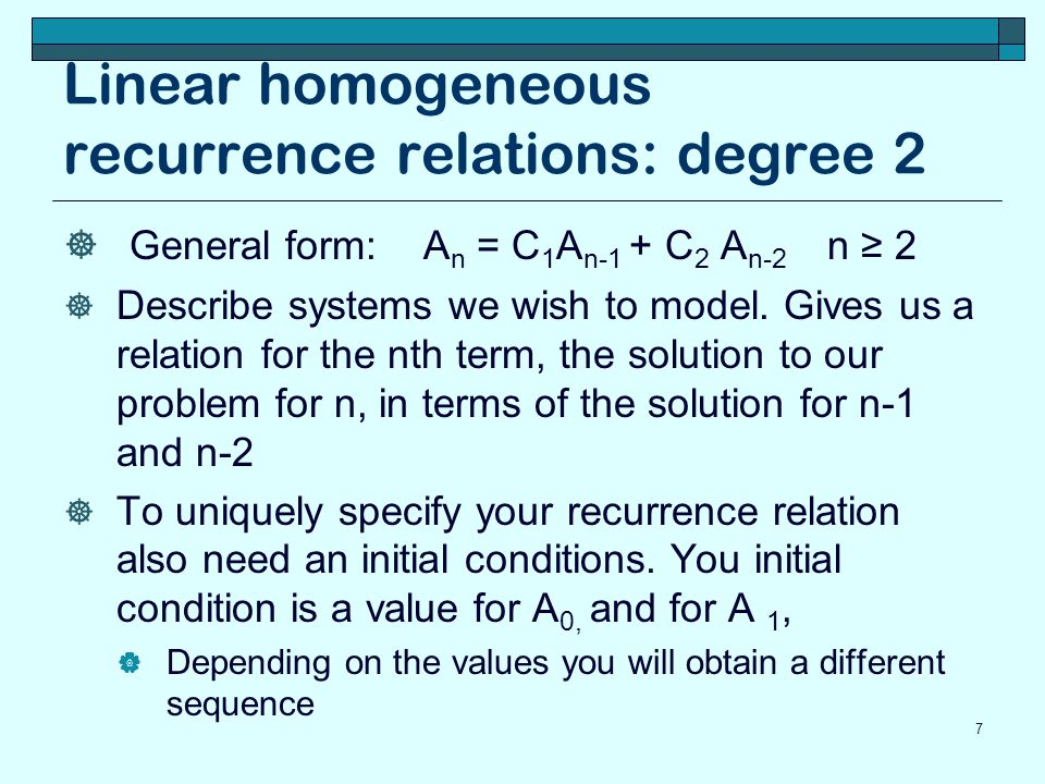 Linear homogeneous recurrence relations: degree 2