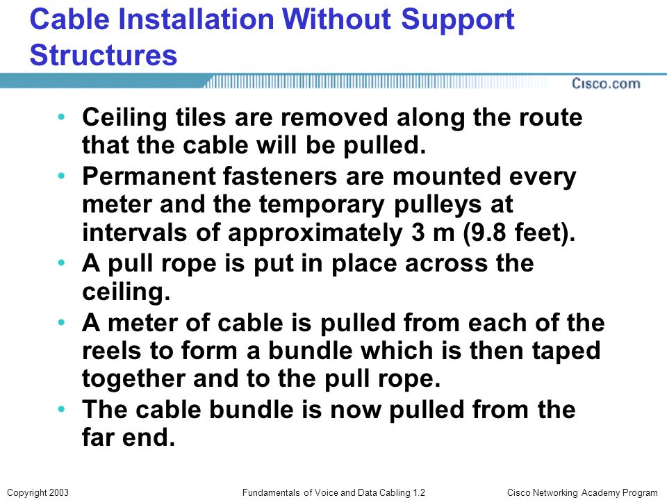 Cable Installation Without Support Structures