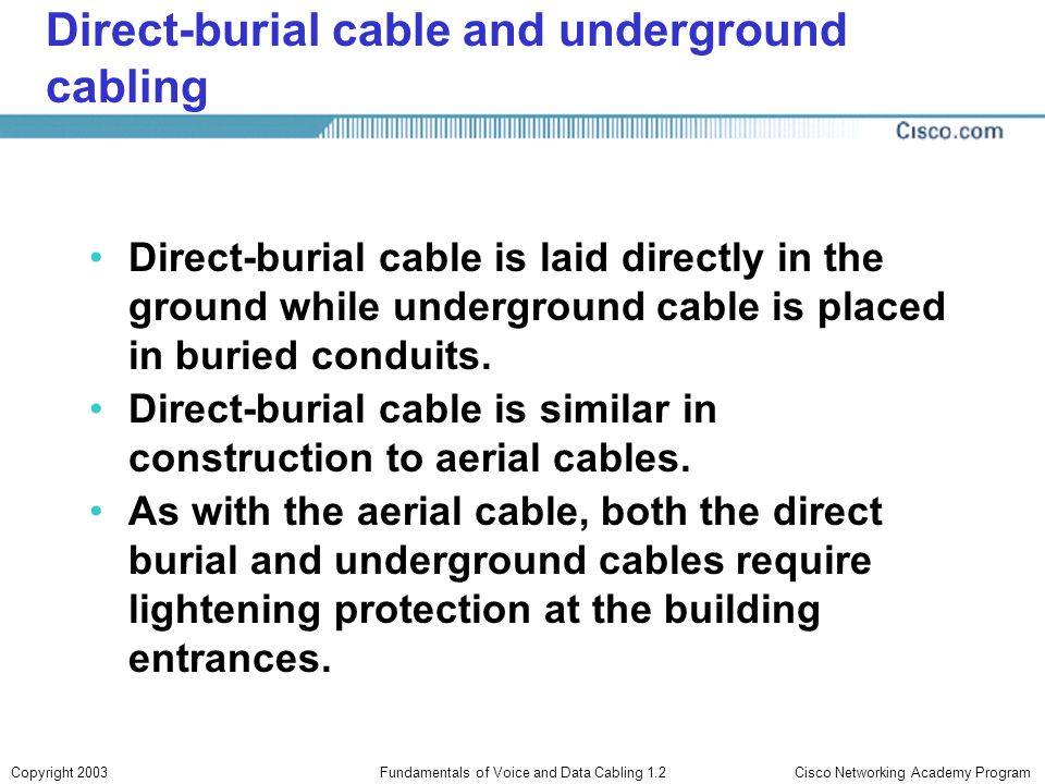 Direct-burial cable and underground cabling