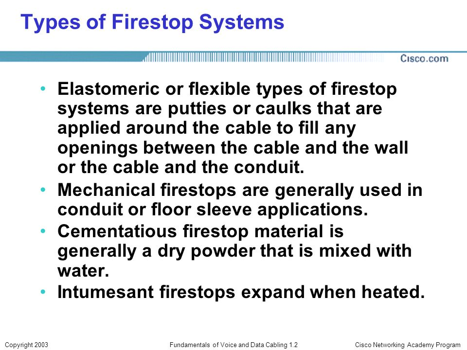 Types of Firestop Systems