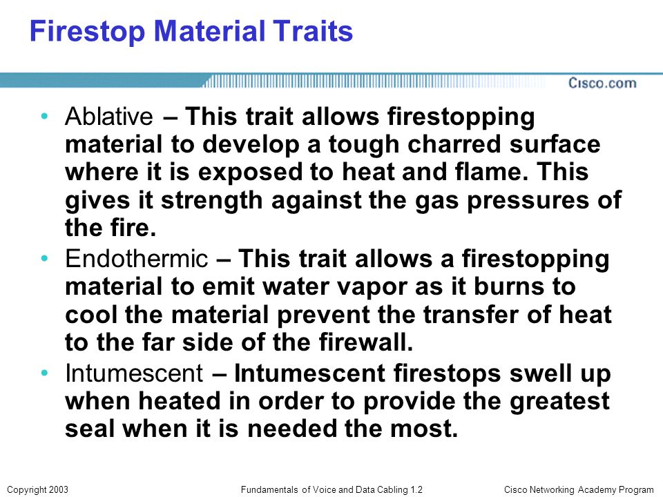 Firestop Material Traits