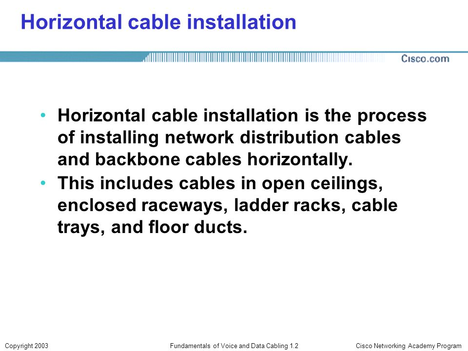 Horizontal cable installation