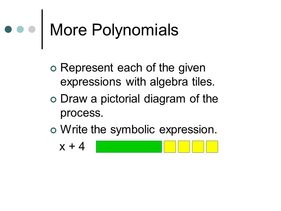 More Polynomials Represent each of the given expressions with algebra tiles. Draw a pictorial diagram of the process.