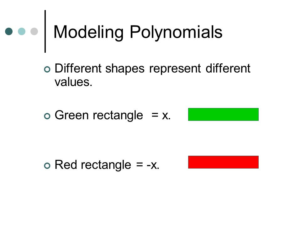 Modeling Polynomials Different shapes represent different values.