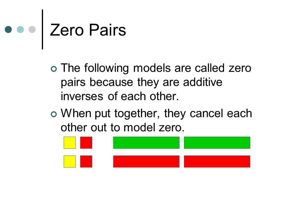 Zero Pairs The following models are called zero pairs because they are additive inverses of each other.
