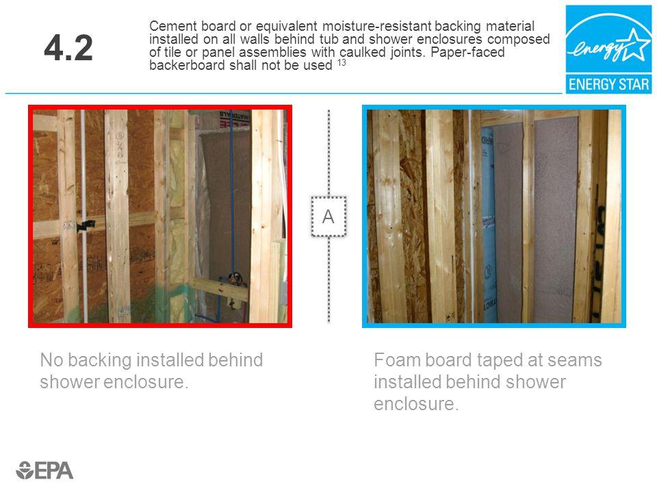4.2 A No backing installed behind shower enclosure.
