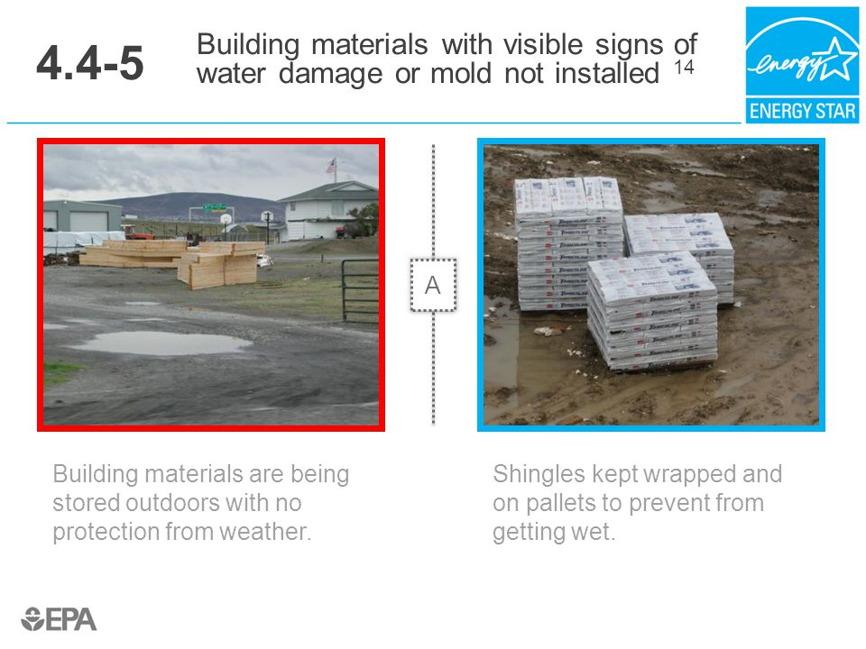4.4-5 Building materials with visible signs of water damage or mold not installed 14. A. Critical Point: