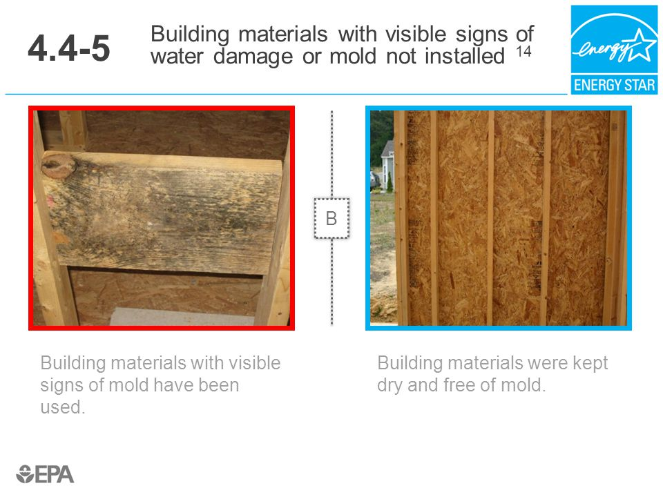 4.4-5 Building materials with visible signs of water damage or mold not installed 14. B. Critical Point: