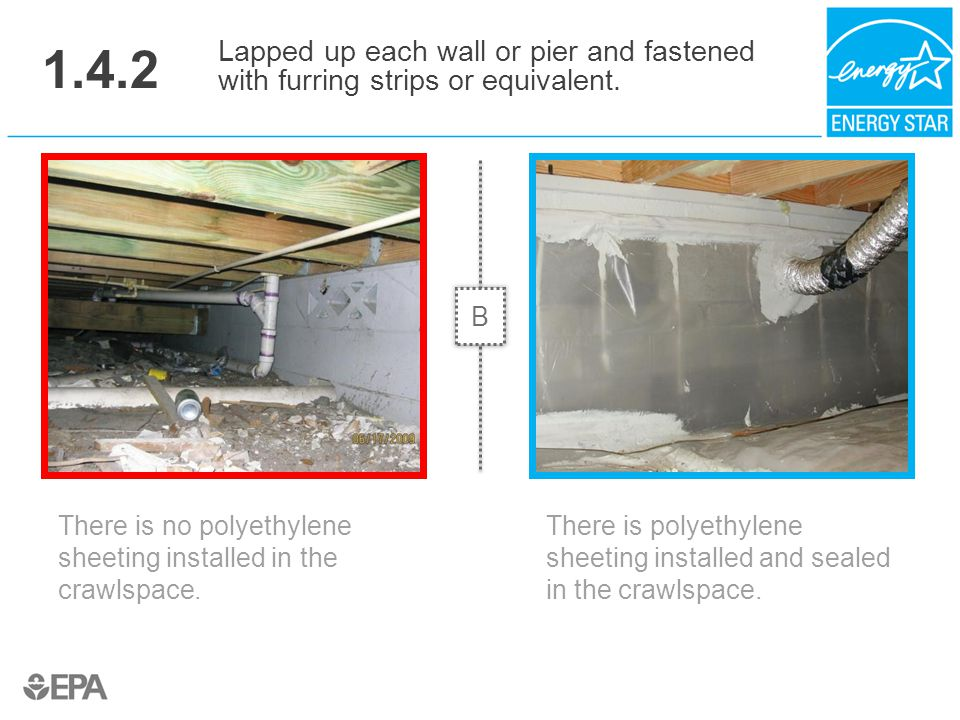 1.4.2 Lapped up each wall or pier and fastened with furring strips or equivalent. B. Critical Point: