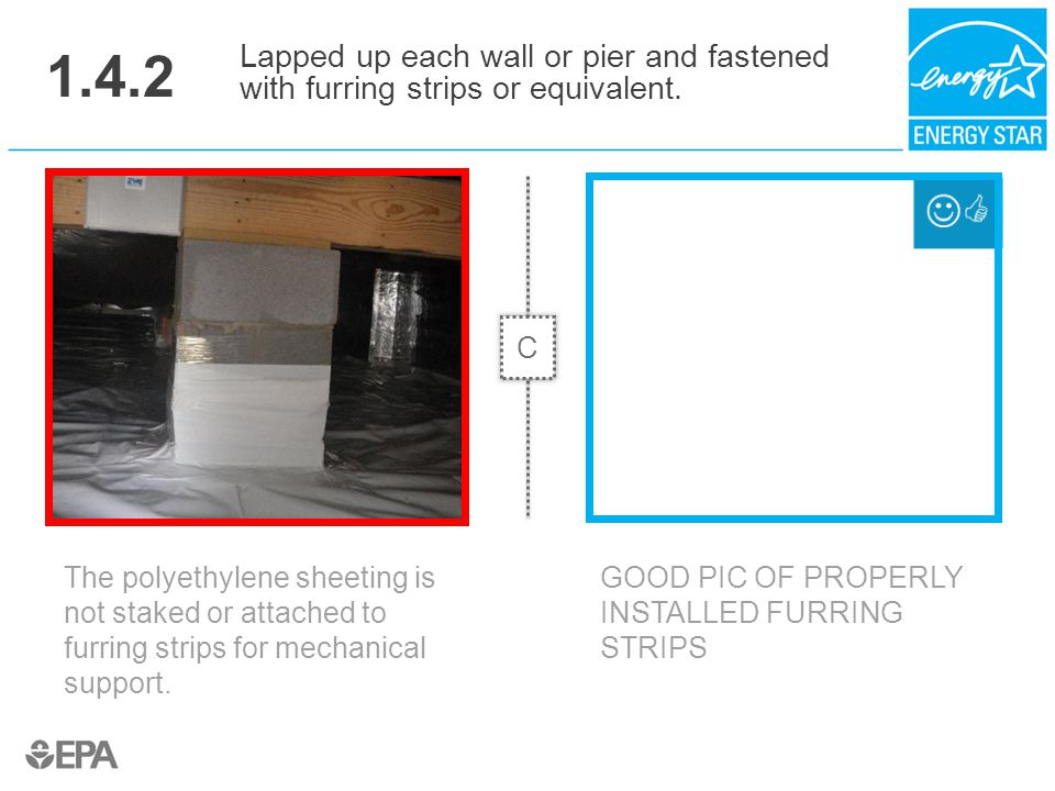 1.4.2 Lapped up each wall or pier and fastened with furring strips or equivalent. C. Critical Point: