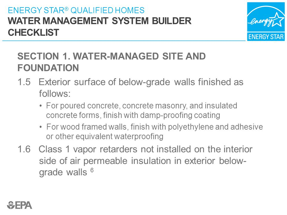SECTION 1. WATER-MANAGED SITE AND FOUNDATION