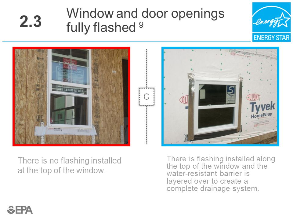 2.3 Window and door openings fully flashed 9 C