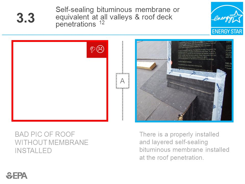 3.3 Self-sealing bituminous membrane or equivalent at all valleys & roof deck penetrations 12. A. Critical Point: