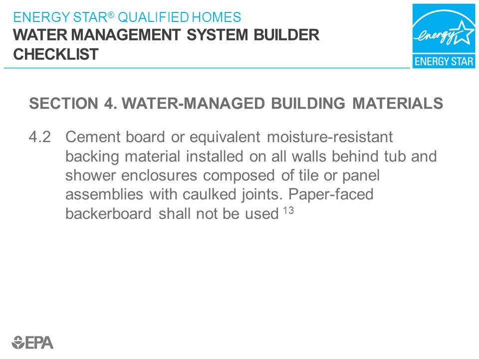 SECTION 4. WATER-MANAGED BUILDING MATERIALS