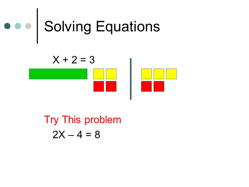 Solving Equations X + 2 = 3 Try This problem 2X – 4 = 8