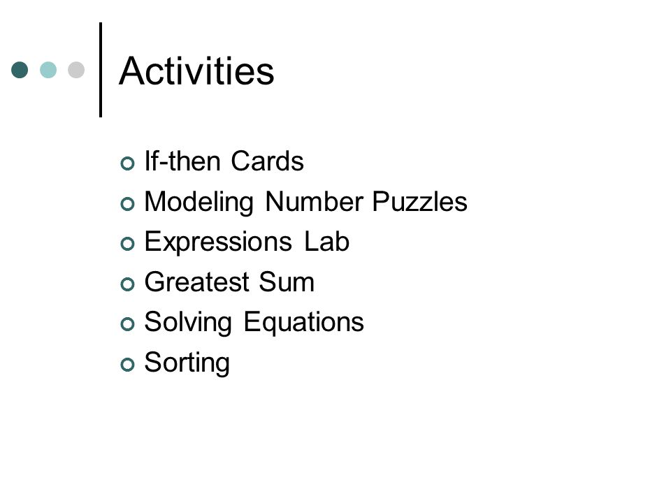 Activities If-then Cards Modeling Number Puzzles Expressions Lab