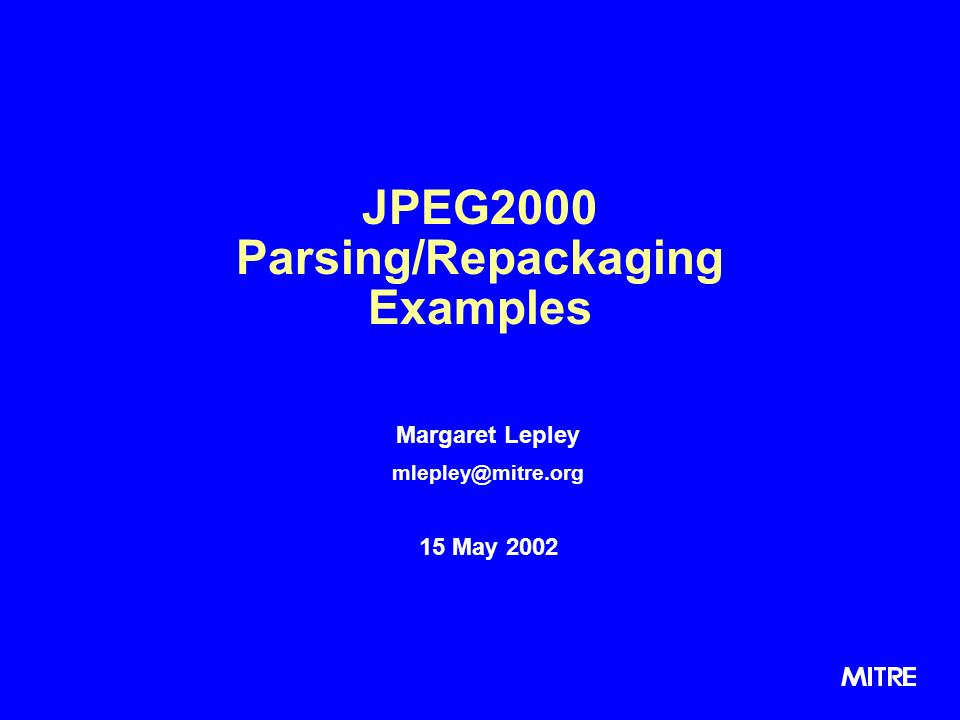 JPEG2000 Parsing/Repackaging Examples