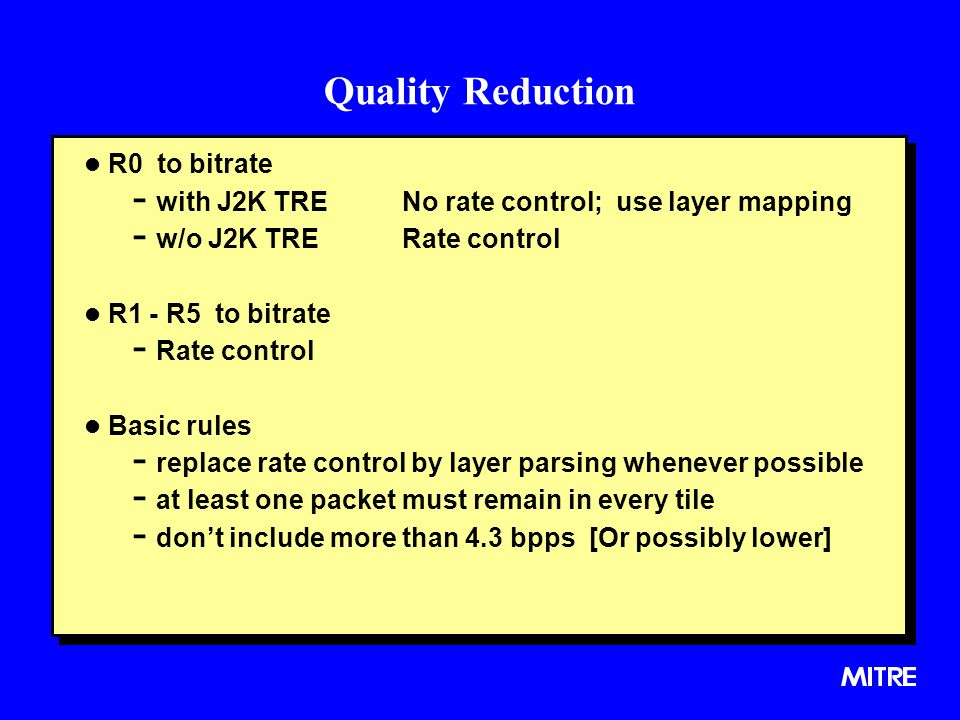 Quality Reduction R0 to bitrate