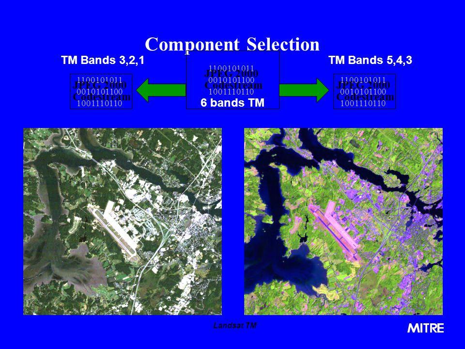 Component Selection TM Bands 3,2,1 TM Bands 5,4,3 6 bands TM JPEG 2000