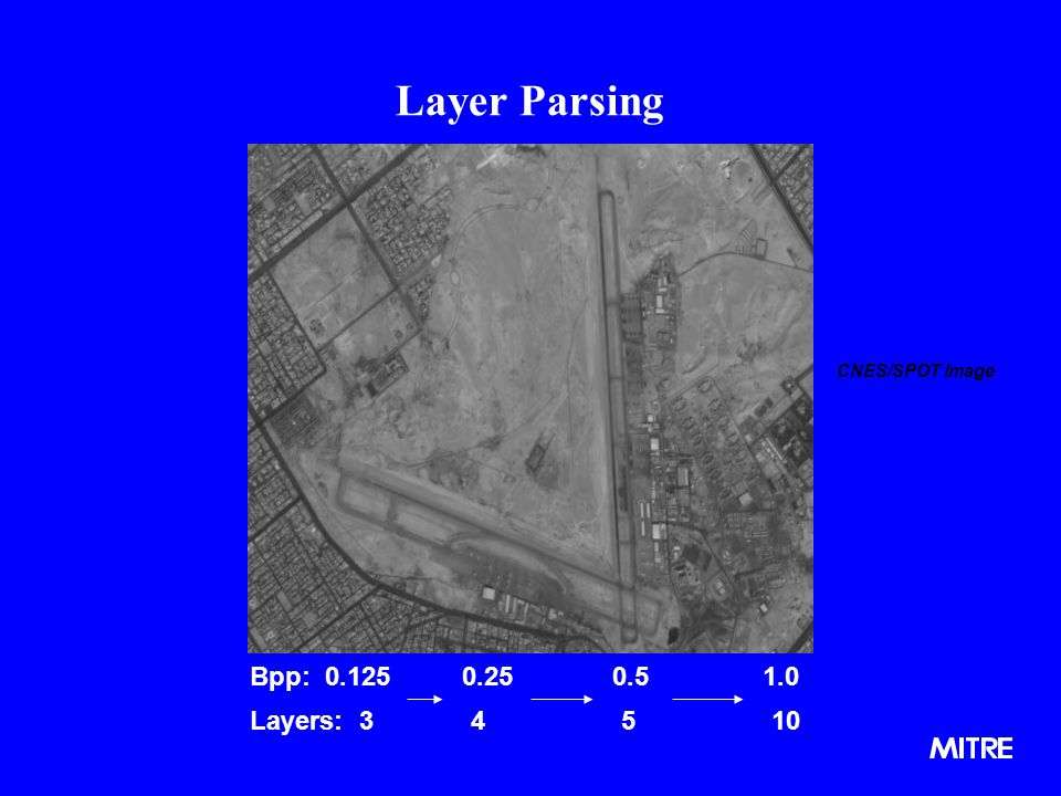 Layer Parsing CNES/SPOT Image Bpp: 0.125 0.25 0.5 1.0 Layers: 3 4 5 10