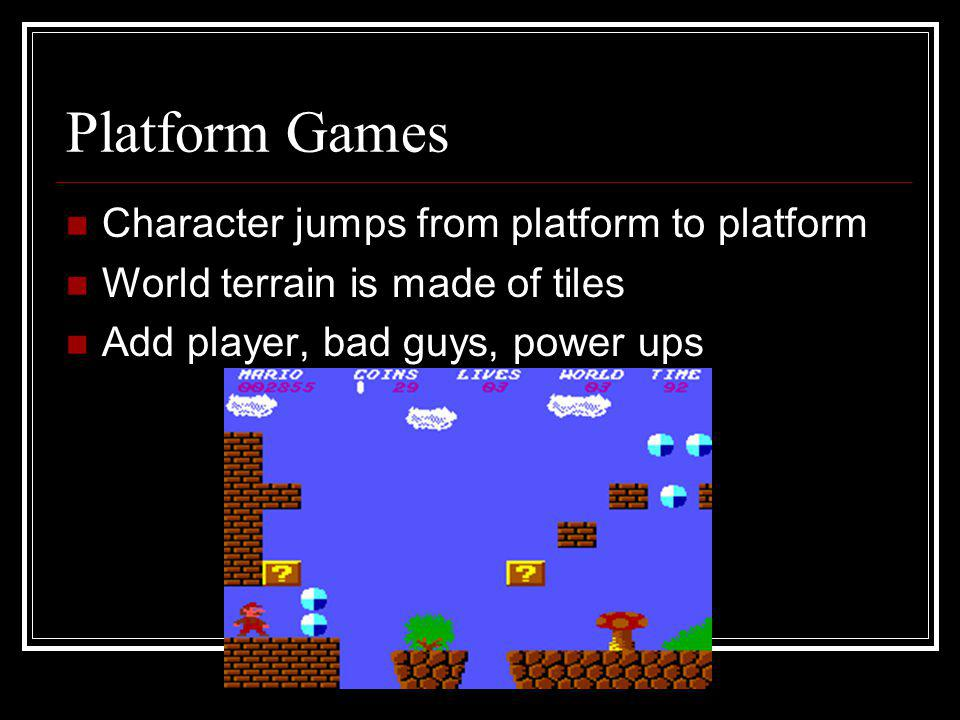 Platform Games Character jumps from platform to platform