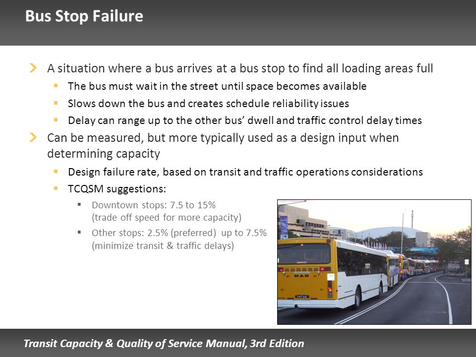 Bus Stop Failure A situation where a bus arrives at a bus stop to find all loading areas full.