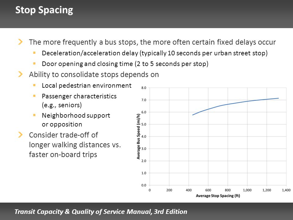 Stop Spacing The more frequently a bus stops, the more often certain fixed delays occur.