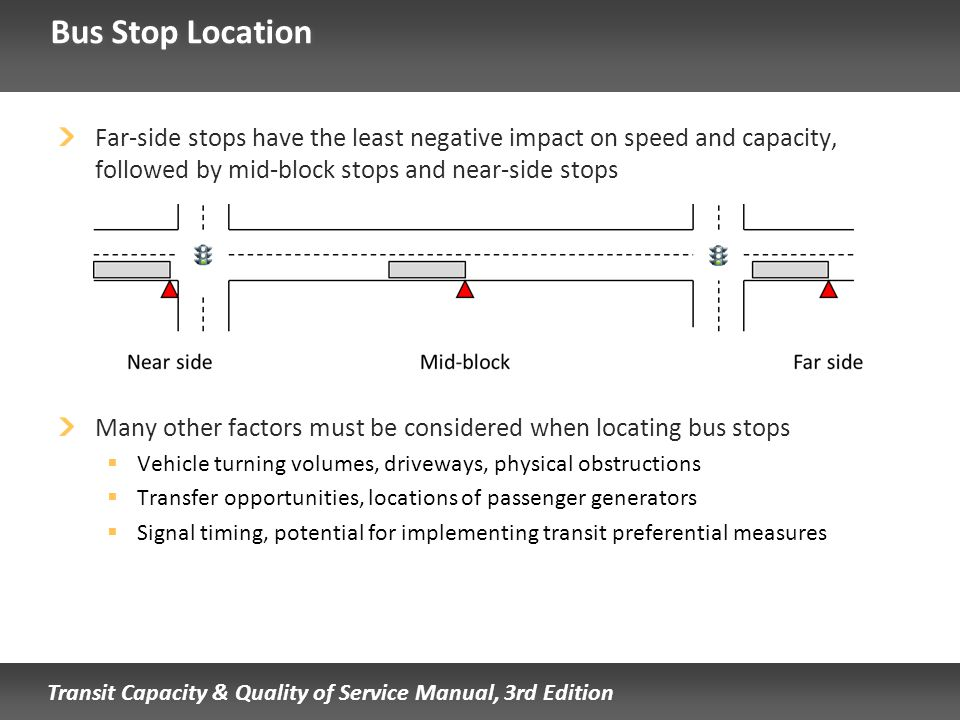 Bus Stop Location Far-side stops have the least negative impact on speed and capacity, followed by mid-block stops and near-side stops.
